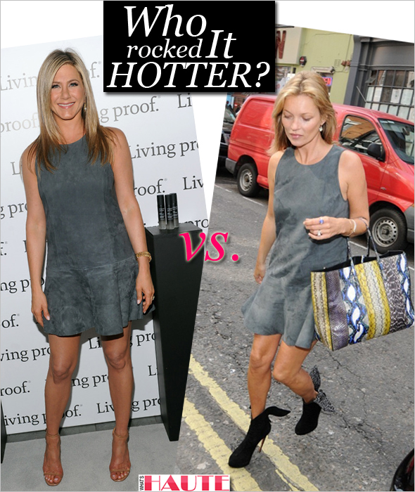Who rocked it hotter: Jennifer Aniston vs. Kate Moss in a Balenciaga gray suede flared dress