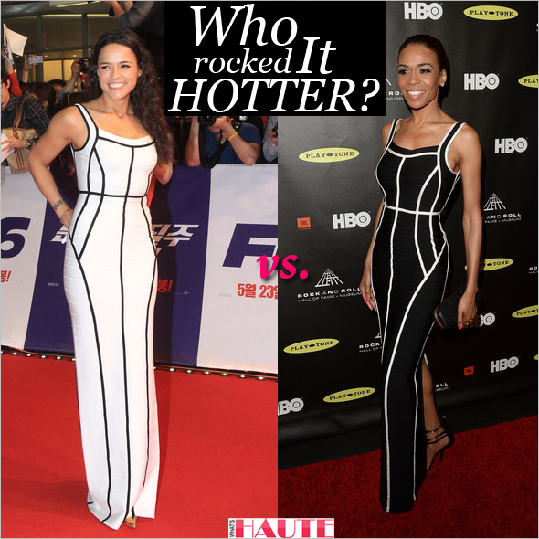 Who rocked it hotter: Michelle Rodriguez or Michelle Williams in Hervé Léger by Max Azria