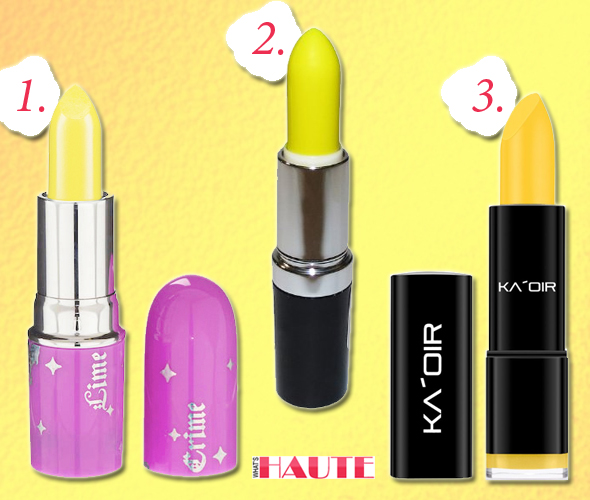 "Lime Crime Opaque Yellow Lipstick New Yolk City, KRYOLAN UV Dayglow F/X Cream Stick - Art.#91202 - Yellow, KA'OIR By Keyshia KAOIR ""Banana Milkshake"" Bright Yellow Lipstick"