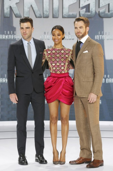 Zachary Quinto, Zoe Saldana and Chris Pine attend 'Star Trek - Into Darkness' German Premiere at Cinestar in Berlin