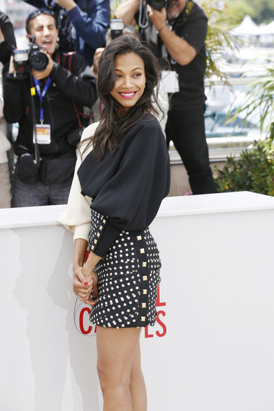 Zoe Saldana in black and white Emanuel Ungaro Fall 2013 and Oscar Tiye red open pumps with ankle strap at the photocall for 'Blood Ties' at the 66th Annual Cannes Film Festival 3