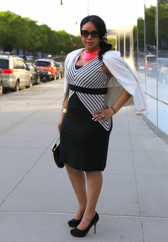 My style: Black and white stripes -  Ronen Chen Queens dress, Bodhi Safety Pin clutch bag, Charles by Charles David suede pumps, H&M neon lucite collar necklace, kate spade new york Midas Touch Idiom bangle, Fendi sunglasses, Baublebar earrings