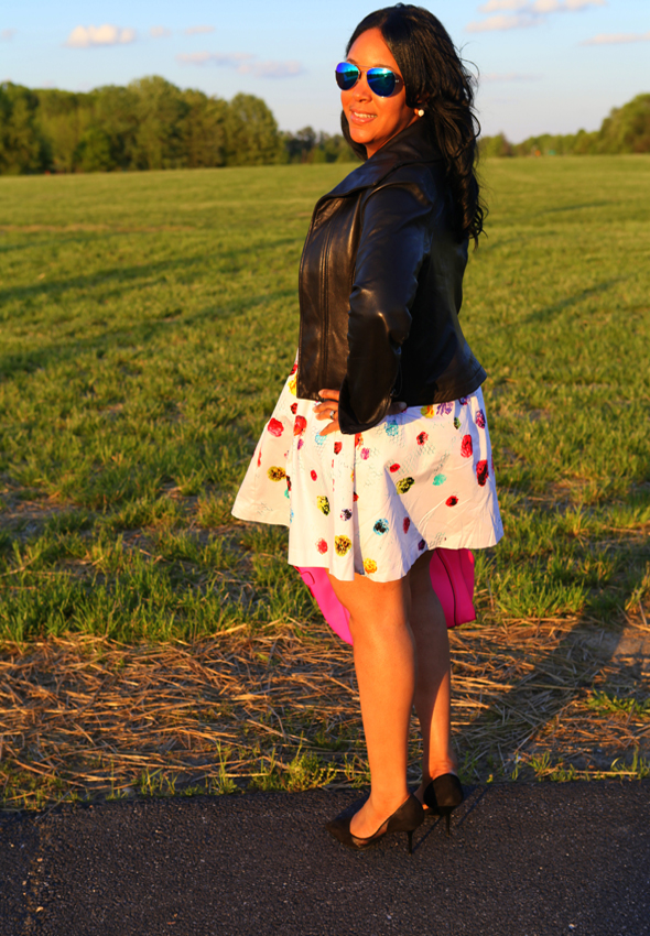 My style: Forever 21 blue metallic aviators, Prabal Gurung for Target floral dress, pink Celine tote, Zara pumps
