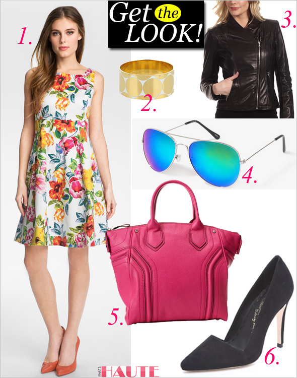 Get the look: Eliza J Print Fit & Flare Dress, FOREVER 21 F6866 Iridescent Aviator Sunglasses, alice + olivia Dina Suede Pumps, Milly Zoey Tote, Calvin Klein Leather Moto Jacket