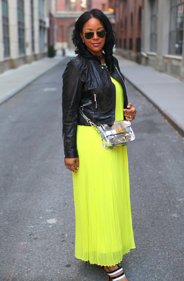 My style: Neon & leather (Leather moto jacket + Victoria's Secret pleated maxi dress + Bottega Veneta sandals), Neon pleated dress