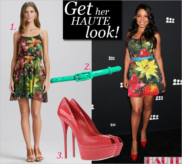 Get her haute look: Sanaa Lathan in Alice + Olivia Daley Floral-Print Dress and red Casadei snake effect platform pumps at the Myspace launch event