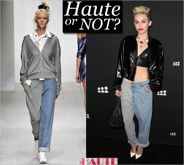 Haute or not Miley Cyrus in KTZ patent leather bomber jacket, T by Alexander Wang Leather Bra Top, Ashish Sweatpants Jeans, white Manolo Blahnik BB Leather Pumps