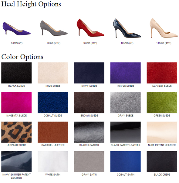 Manolo Blahnik choose your own heel height and color