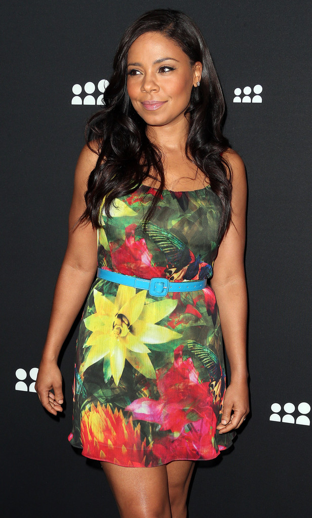 Sanaa Lathan alice + olivia tropical floral print dress and red Casadei python effect platform pumps