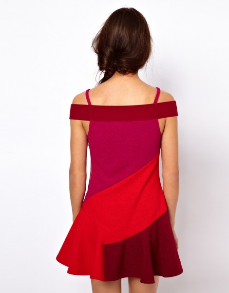 Three Floor Flounce Dress In Color Block back