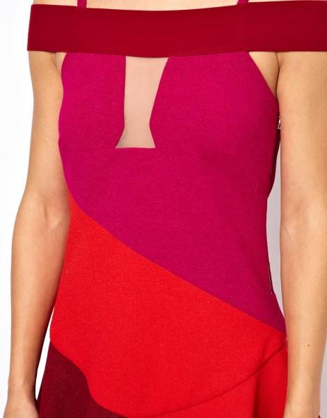 Three Floor Flounce Dress In Color Block bodice