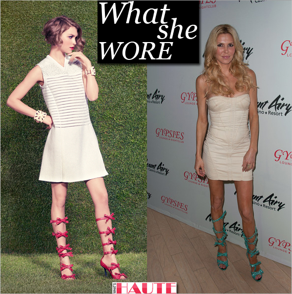 What She Wore: Brandi Glanville in Louis Vuitton 2012 Resort bow gladiator sandals