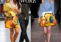 What she wore: Victoria Beckham in Carven's 'Garden of Earthly Delights' skirt
