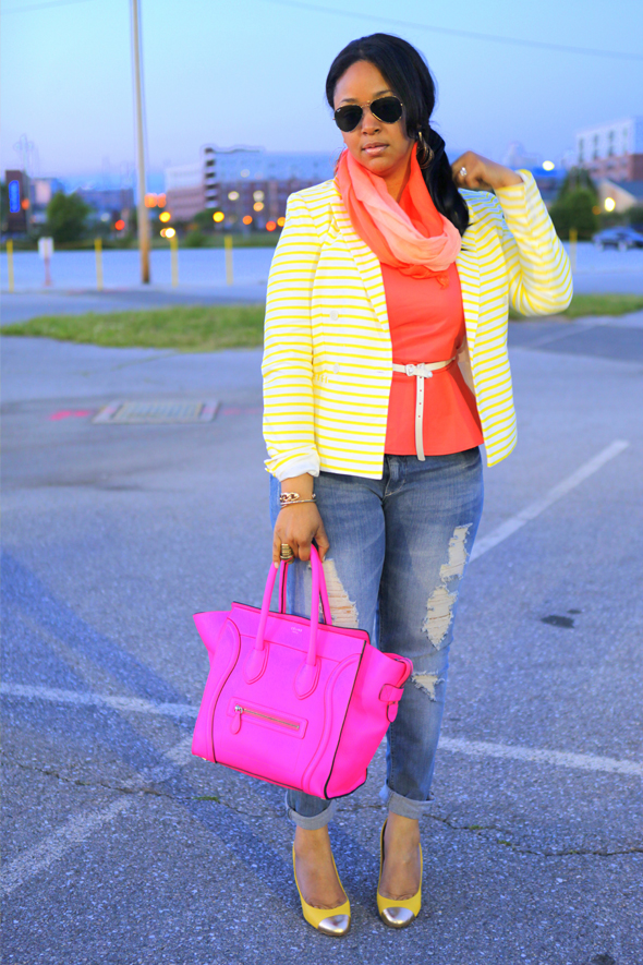 My style - Color trio: Isaac Mizrahi yellow and white Striped Blazer, Jaye.E coral Faux Leather Peplum Top, H&M studded belt, Mossimo Supply Co. Juniors Skinny Denim - Light Destructed, fluro pink Celine Leather Luggage Tote, J.Crew yellow Etta gold Cap-Toe Pumps