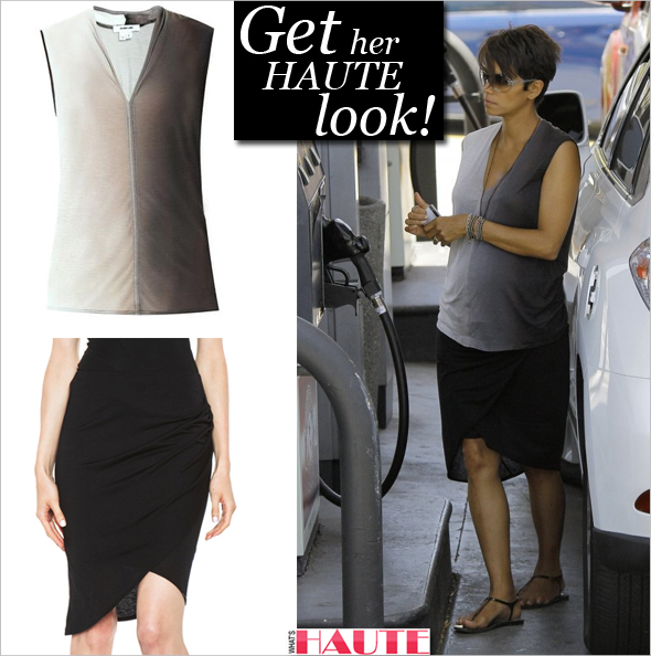Halle Berry in Helmut Lang Shadow Ombre top & HELMUT Helmut Lang Kinetic Jersey Side Gather Skirt in Black filling up her SUV at a gas station in West Hollywood, California
