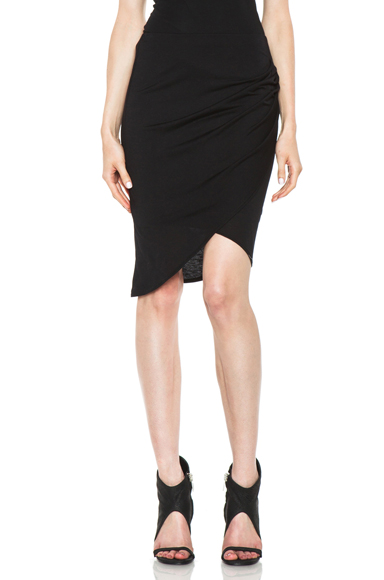 Helmut Lang Kinetic Jersey Side Gather Skirt in Black