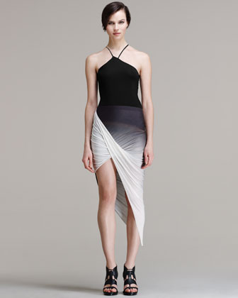 Helmut Lang Shadow Ombre Asymmetrical Skirt