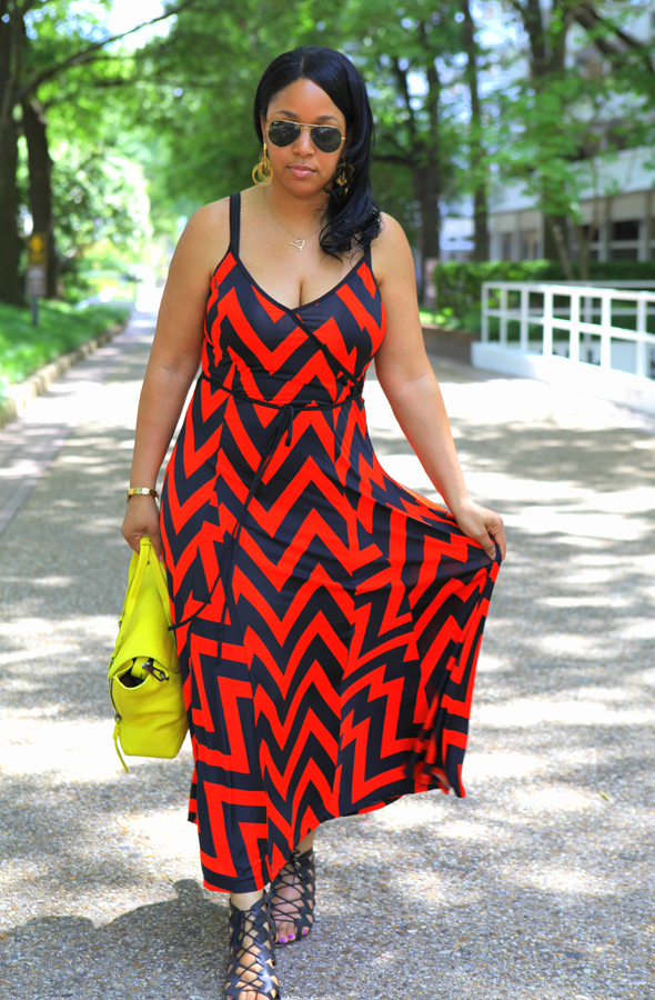 My style: Chevron + neon - Ray-Ban Aviator Sunglasses, Chevron print maxi dress, 3.1 Phillip Lim Medium Pashli Shark Embossed Satchel in Electric Yellow, LOFT Frida Caged Wedges