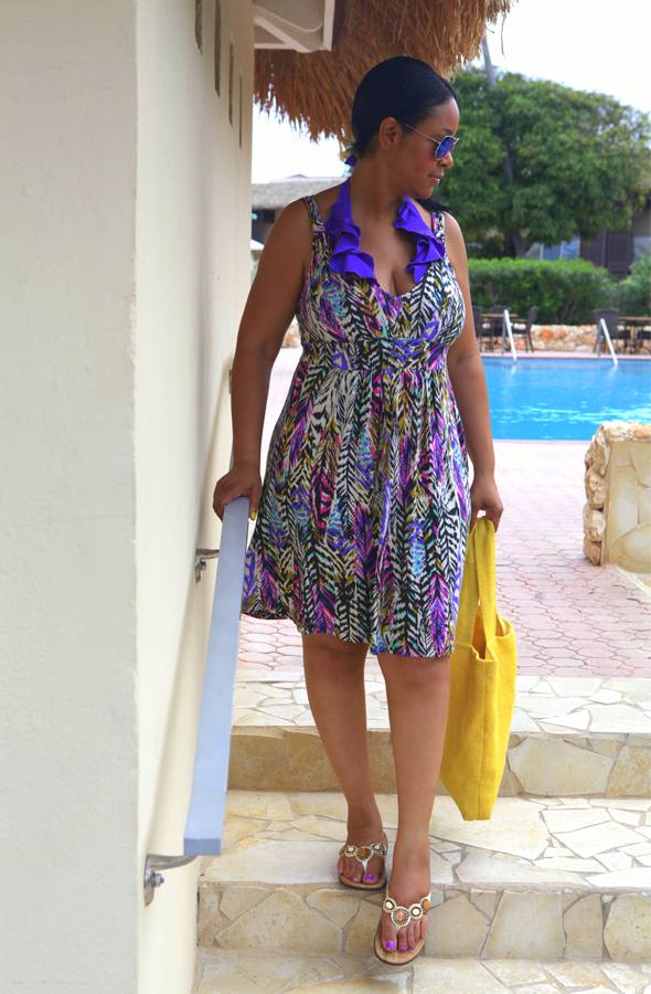 What I'm Wearing: Victoria's Secret monokini, H&M dress, Orthaheel Fiji Sandals (c/o), NK Henry Burlap Tote, Forever 21 Metallic Aviators