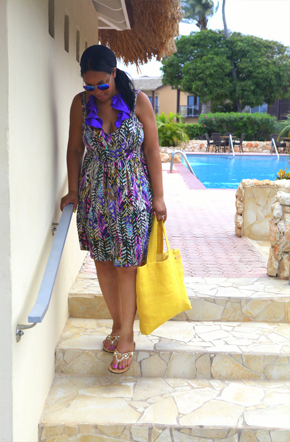 What I'm Wearing: Victoria's Secret monokini, H&M dress, Orthaheel Fiji Sandals (c/o), NK Henry Burlap Tote, Forever 21 Metallic Aviators