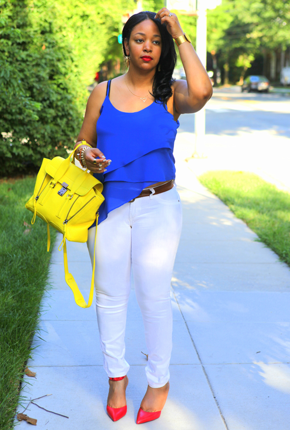 My style: Red, white and blue - Naked Zebra Spaghetti Strap Asymmetrical Top, James Jeans Twiggy Skinny Jean in White, B Brian Atwood Mercada Stud Pumps in Red, 3.1 Phillip Lim Medium Pashli Satchel with Strap in Electric Yellow, MAC RiRi Woo Lipstick, Eric Weiner Cicada Earrings, Ray-Ban Aviator Sunglasses, Hermes Hapi 2 Wrap Bracelet,glint & gleam 'Sharp as a Razor Bracelet', ASOS Spike Bracelet and Rings, Beyond Rings I Love New York Necklace