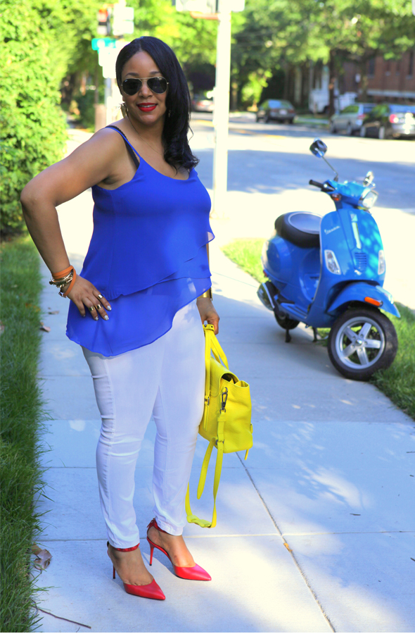 My style: Red, white and blue - Naked Zebra Spaghetti Strap Asymmetrical Top, James Jeans Twiggy Skinny Jean in White, B Brian Atwood Mercada Stud Pumps in Red, 3.1 Phillip Lim Medium Pashli Satchel with Strap in Electric Yellow, MAC RiRi Woo Lipstick, Eric Weiner Cicada Earrings, Ray-Ban Aviator Sunglasses, Hermes Hapi 2 Wrap Bracelet, glint & gleam 'Sharp as a Razor Bracelet', ASOS Spike Bracelet and Rings, Beyond Rings I Love New York Necklace