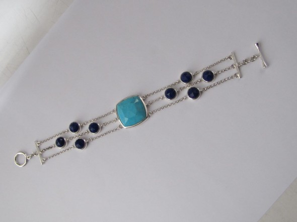 SNS Jewelry Studio lapis and turquoise bracelet