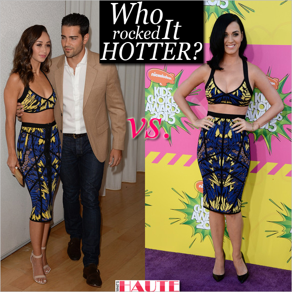 Who rocked it hotter: Katy Perry vs. Cara Santana in Hervé Léger Sabina Butterfly Jacquard Bra Top & Rhea Butterfly Jacquard Skirt