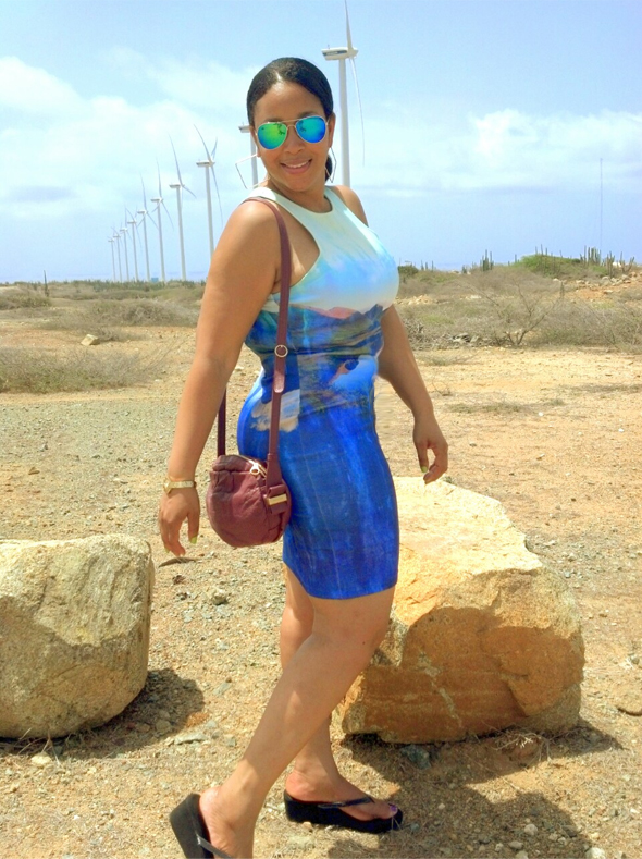 My style: Beyoncé for H&M Bodycon Dress with mountain print, See by Chloé Perforated Day Bag in Bean, Forever 21 F6866 Iridescent Aviator Sunglasses - wind turbines in Aruba