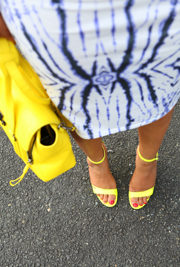 My style: River Island Tie Dye Mirror Print Column Dress at ASOS | Express neon sandals (Similar here and here) | 3.1 Phillip Lim Medium Pashli Shark Embossed Satchel in Yellow and here (Also love the tote) | Anticoa CleverEve Multi Hoop Dangle Earrings | LOFT bracelet | Isharya Pink Agate Druzy & Ebony Wood Ring | MAC Lipstick in 'Lickable'