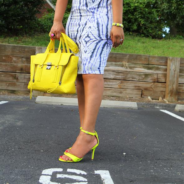 My style: River Island Tie Dye Mirror Print Column Dress at ASOS | Express neon sandals | 3.1 Phillip Lim Medium Pashli Shark Embossed Satchel in Yellow | Anticoa CleverEve Multi Hoop Dangle Earrings | LOFT bracelet | Isharya Pink Agate Druzy & Ebony Wood Ring | MAC Lipstick in 'Lickable'