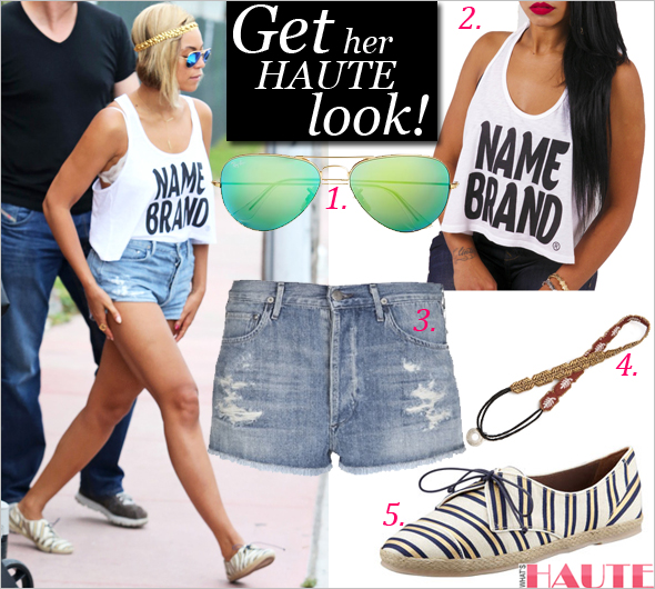 Get her haute look: Beyoncé in Gifted Apparel Name Brand Women's Crop Top, Ray-Ban Large Metal Blue Aviators, Citizens of Humanity Chloe cut off shorts in 'love worn', Deepa Gurnani Sequin Patterned Headband, Tabitha Simmons Tie-Striped Flat Espadrille Sneaker, Gold/Navy