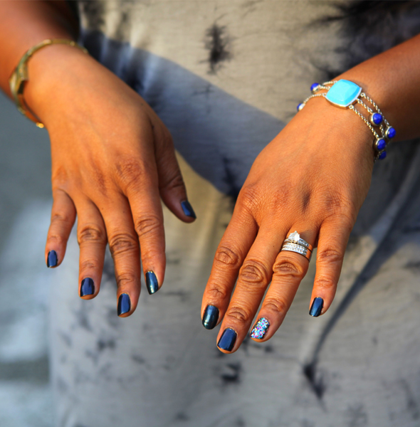 My style: Forever 21 tie-dye dress, SNS Jewelry Studio Lapis & Turquoise bracelet
