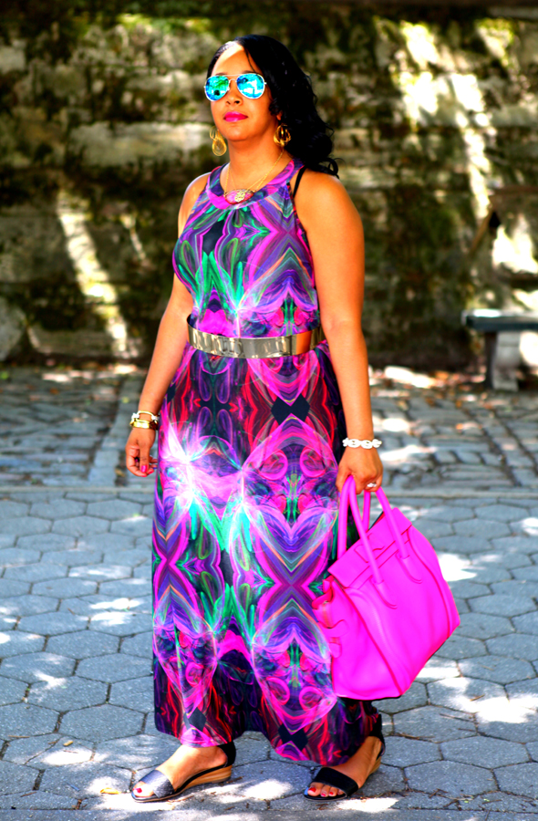 My style: Transitional style challenge - Wallis Pink Printed Maxi Dress, Celine Leather Luggage Tote, Forever 21 Mirrored Aviators, ASOS Full Metal Waist Belt, Anticoa CleverEve Multi Hoop Dangle Earrings, BaubleBar Pavé Links Bracelet, Miz Mooz Papaya Sandals