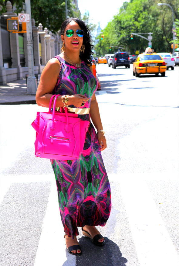 My style: Transitional style challenge - Wallis Pink Printed Maxi Dress, Celine Leather Luggage Tote, Forever 21 Mirrored Aviators, ASOS Full Metal Waist Belt, Anticoa CleverEve Multi Hoop Dangle Earrings, BaubleBar Pavé Links Bracelet, Miz Mooz Papaya Sandals, Isharya Pink Agate Druzy & Ebony Wood Ring