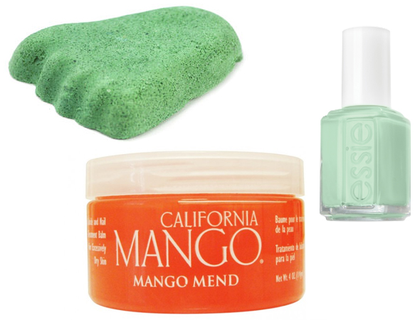 Beauty How to: Re-create a spa pedicure at home with Lush foot scrub, California Mango Mend  treatment, and Essie nail lacquer!