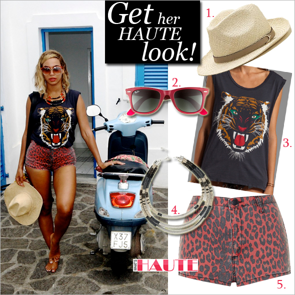 Get her haute look - Beyonce wearing Lovers + Friends Muscle Tee, Ray-Ban 'Classic Wayfarer' 50mm Sunglasses, Topshop Moto Red leopard print high waisted hotpants, nOir Jewelry Sobat Triple Strand Beaded Necklace, Gucci Natural straw with cuir leather detail