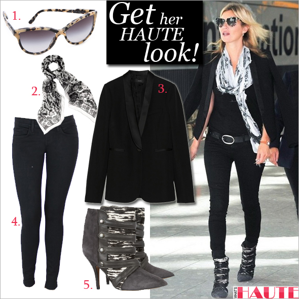 Get her haute look: Kate Moss in Wildfox Denim and Isabel Marant - Stella McCartney Rounded Cat Eye Sunglasses, Alexander McQueen Animalier Silk Skull Scarf, Wildfox Denim by Michelle Siwy Carmen Skinny Jean, Isabel Marant Tacy suede, printed calf hair and leather boots, Joseph Helmut satin-trimmed wool tuxedo blazer