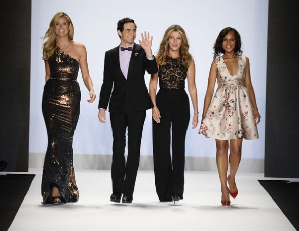 Heidi Klum, Zac Posen, Nina Garcia and Kerry Washington walk the runway at the Project Runway Spring 2014 fashion show during Mercedes-Benz Fashion Week at The Theatre at Lincoln Center on September 6, 2013 in New York City