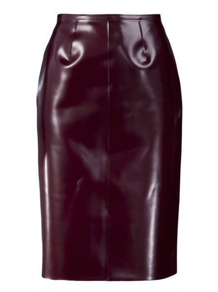 Oxblood red P.V.C rubber skirt from Burberry Prorsum