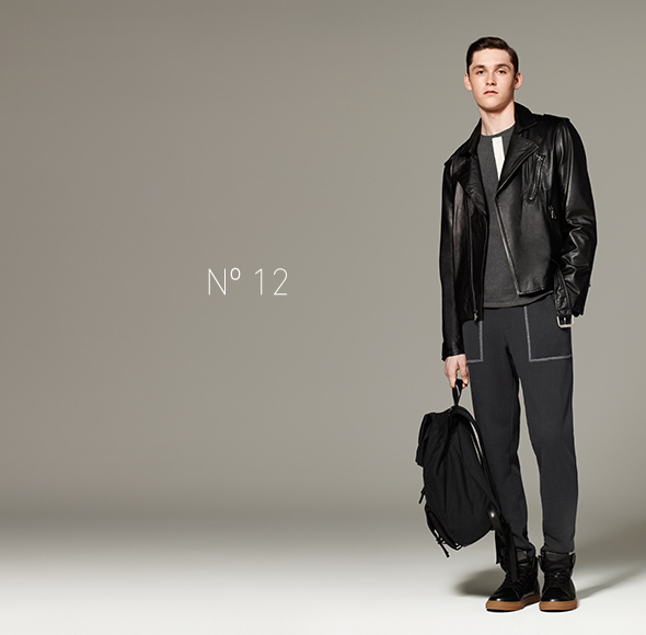 Phillip Lim for Target - Pique Henley in Charcoal, Leather Jacket in Black, French Terry Sweatpant in Gray, Backpack in Black