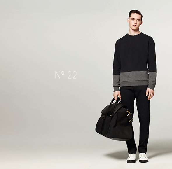 Phillip Lim for Target - French Terry Sweatshirt in Navy/Gray, Pant in Navy, Valise in Black, High Top Sneaker in White