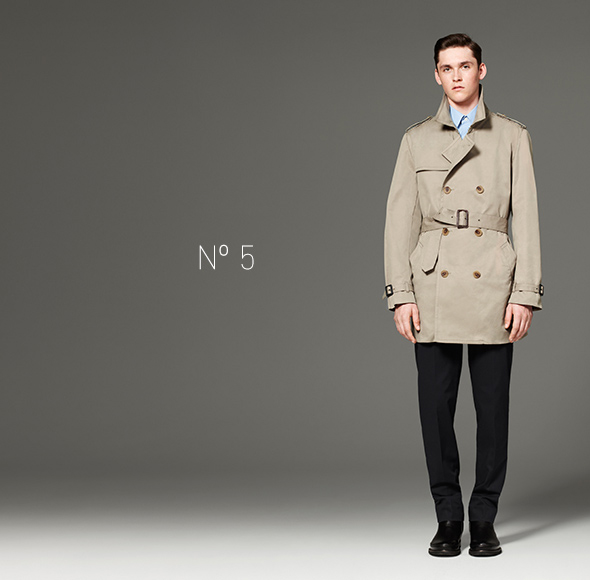 Phillip Lim for Target - Shirt in Light Blue, Trench Coat in Khaki, Pant in Navy, Chelsea Boot in Black