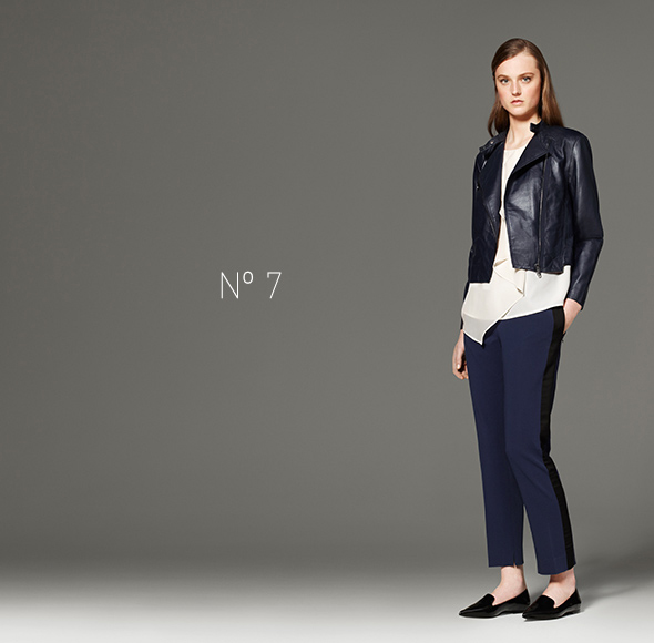 Phillip Lim for Target - Ruffle Tank in White, Leather Jacket in Navy, Tuxedo Pant in Navy/Black, Carry-All Bag in Black