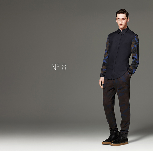 Phillip Lim for Target - Shirt in Navy/Camo Print, French Terry Sweatpant in Camo Print, High Top Sneaker in Black
