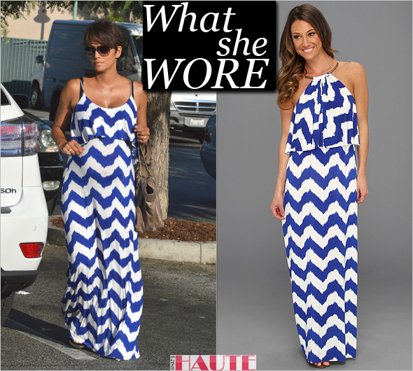 Celebrity style - What she wore: Halle Berry blue and white chevron print Tbags Los Angeles High Neck Cami Long Dress with Ruffle Flap