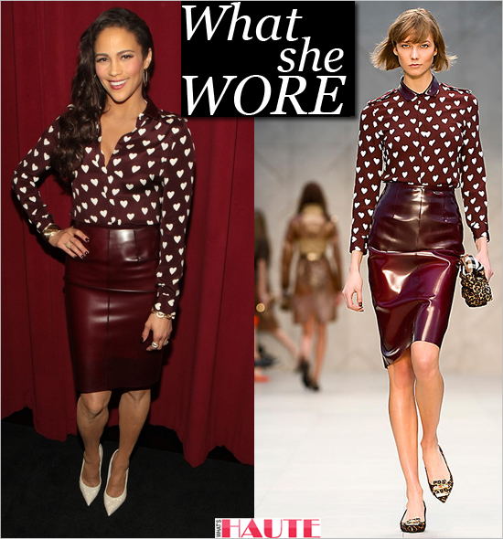 Paula Patton in Burberry Prorsum Silk Heart Print Shirt with rubber collar, Translucent rubber pencil skirt and Giuseppe Zanotti 'Ester' studded leather pumps, celebrity style