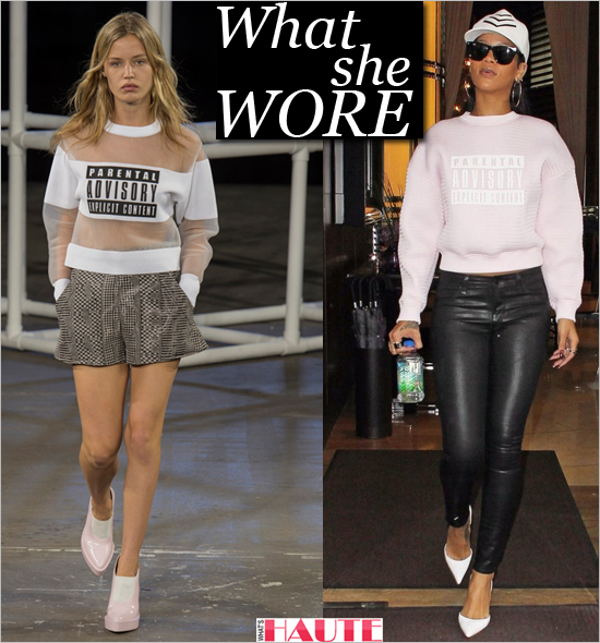 What she wore: Rihanna in Alexander Wang Spring 2014 Parental Advisory Explicit Content Sweater, black skinny leather leggings, white Manolo Blahnik Tayler d'Orsay pumps, Ray-Ban Wayfarer Sunglasses and the House Of Malakai's (HOM) Military Trucker Hat in White
