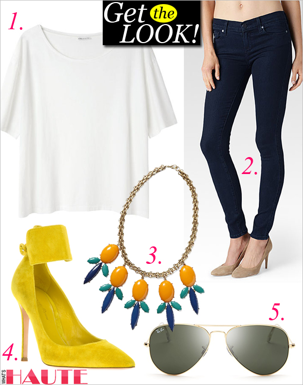 Get the look: Ray-Ban Aviator Sunglassess, Pim + Larkin Colorful Cabochon Statement Necklace, Acne Studios Wonder Cotton Tee, Paige Denim 'Verdugo' Ultra Skinny Jeans, Gianvito Rossi Ankle Strap Pump; My style