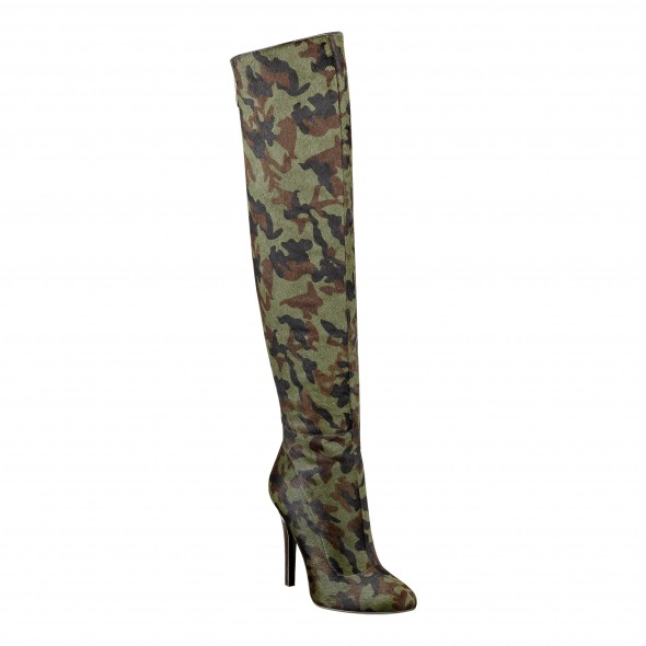 Cameron Silver For Nine West BELIXA boot in camo pony